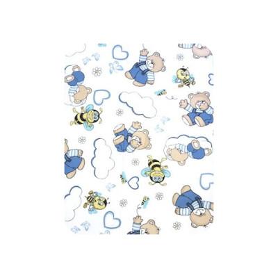 Prosopel dublu 70x100 cm cu capison din finet Deseda Ursi albastri cu albine pe alb