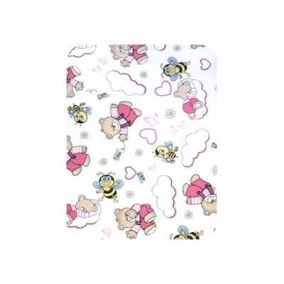 Pilota din finet 70x100 cm pentru bebelusi Deseda Ursi cu albine pe roz