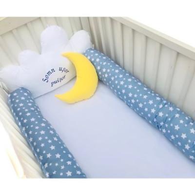 Aparatori laterale protectii pat cu bumper 140x70 cm Deseda Somn usor puisor albastru