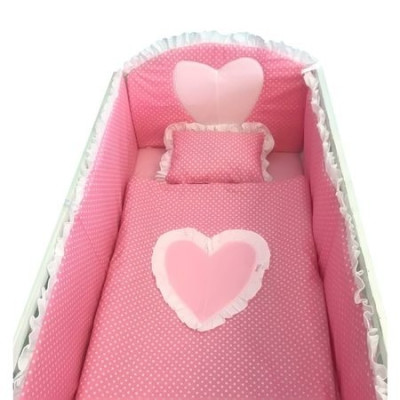 Lenjerie de pat bebelusi Te Iubesc Puisor 120x60 cm roz cu alb