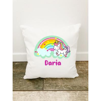 Husa perna Personalizata decorativa Curcubeu cu unicorn