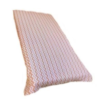 Cearsaf de pat cu elastic roata, imprimeu Zig zag pe bej