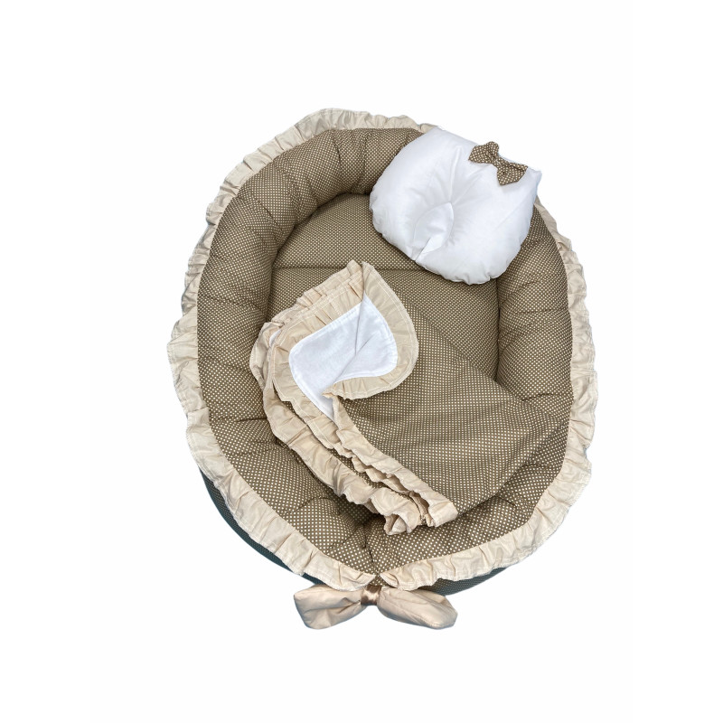 Cuib baby nest bebelusi cu volanase Maro cu buline albe LUX by Deseda