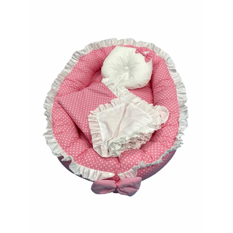 Cuib baby nest bebelusi cu volanase Roz cu buline albe LUX by Deseda