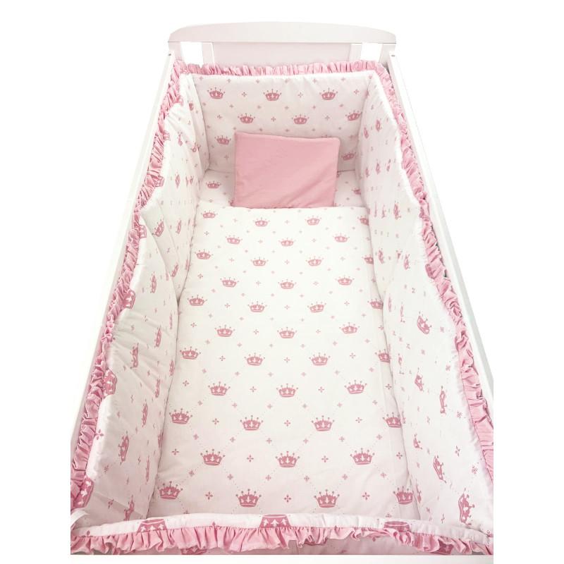 Lenjerie de pat bebelusi cu aparatori laterale pufoase Deseda Coronite roz