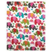 Cearsaf de pat cu elastic roata, imprimeu Elefanti roz