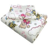 Lenjerie 3 piese din finet flannel pat 140x70 cm Deseda Ursi cu albine roz