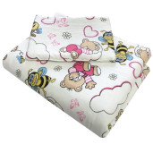 Lenjerie 3 piese din finet flannel pat 120x60 cm Deseda Ursi cu albine roz