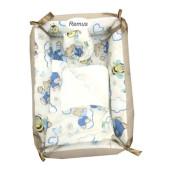 Reductor Personalizat Bebe Bed Nest cu paturica si pernuta antiplagiocefalie Deseda Ursi cu albine pe crem