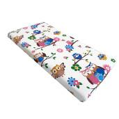 Cearsaf de pat cu elastic roata, imprimeu Bufnite colorate
