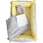 Reductor Personalizat Bebe Bed Nest cu paturica si pernuta antiplagiocefalie Deseda Stelute pe gri