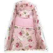Lenjerie de pat bebelusi 120x60 cm 6 piese cu aparatori laterale pufoase si volanase Deseda Ursi cu albine pe roz