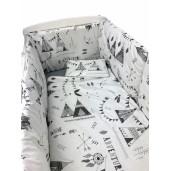 Lenjerie de pat bebelusi cu aparatori laterale pufoase Deseda Corturi de indian gri