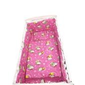 Lenjerie de patut bebelusi 5 piese cu aparatori laterale pe burete CN Hello Kitty roz