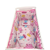 Lenjerie de patut bebelusi 5 piese cu aparatori laterale pe burete CN Printese la castel roz