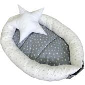 Cuib baby nest bebelusi forma ovala Stelute gri