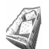 Lenjerie Personalizata cu aparatori din 7 pernute pufoase, perna paturica si cearsaf cu volan Deseda Coronițe gri