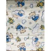 Cearsaf de pat cu elastic roata,  Ursuleti cu albine pe crem