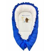 Cuib cu desfacere și volanase imprimat Albastru Royal Ursuleț