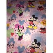 Cearsaf de pat cu elastic roata, imprimeu Minnie Mouse roz
