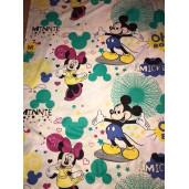 Bumbac satinat Ranforce Mickey și Minnie pe alb