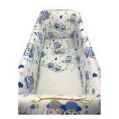 Aparatori laterale protectii pat 120x60 cm Deseda Maxi Bufnite Albastre