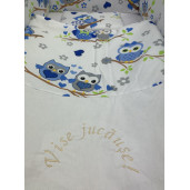 Lenjerie de patut bebelusi 120x60 cm cu aparatori Maxi Bufnite Albastre