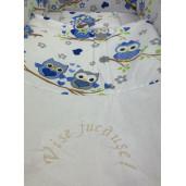 Lenjerie de patut bebelusi 140x70 cm cu aparatori Maxi Deseda Bufnite Albastre
