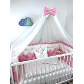 Lenjerie de pat cu 6 apărători matlasate Bicolore Mix steluțe roz