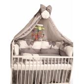 Lenjeria de pat bebeluși cu 4 apărători Super groase în 2 culori și baldachin cu Volanase și suport Deseda Gri - alb