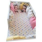 Set perne norisori pt margine pat Montessori 160x80 cm Deseda Stelute colorate