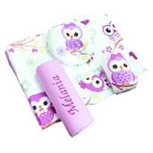 Set Personalizat antiregurgitare si pozitionare cu plan inclinat pentru bebelusi Deseda Bufnite violet