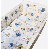 Aparatori laterale protectii laterale pat pufoase 120x60 cm h35cm Deseda Ursuleti cu albinute pe crem