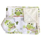 Reductor Personalizat Bebe Bed Nest cu paturica si pernuta antiplagiocefalie Deseda Bufnite verzi