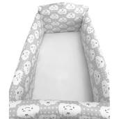 Aparatori laterale protectii pat 120x60 cm Deseda Maxi Norisori zambareti pe gri
