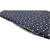 Culcus personalizat multifunctional impermeabil cu saltea pentru caini si pisici Deseda marime M Stelute pe bleumarin