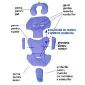 Husa perna din bumbac antitranspiratie pentru scaun auto 9-25 kg Deseda Buline albastre
