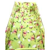 Lenjerie de patut bebelusi 140x70 cm 7 piese cu aparatori laterale pe burete CN Winnie the Pooh verde