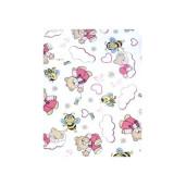 Lenjerie de pat din finet 3 piese Ursuleti roz cu albine pe alb
