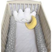 Aparatori laterale protectii pat cu bumper 140x70 cm Deseda Somn usor puisor gri