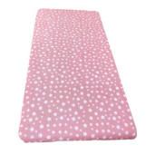 Cearsaf de pat cu elastic roata, imprimeu Stelute pe roz