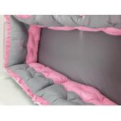 Lenjerie de pat cu 6 apărători matlasate și dantela Finețe 10 piese Gri-roz