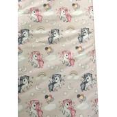 Cearsaf de pat cu elastic roata, imprimeu Unicorni