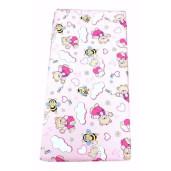 Cearsaf de pat cu elastic roata, imprimeu Zoo roz